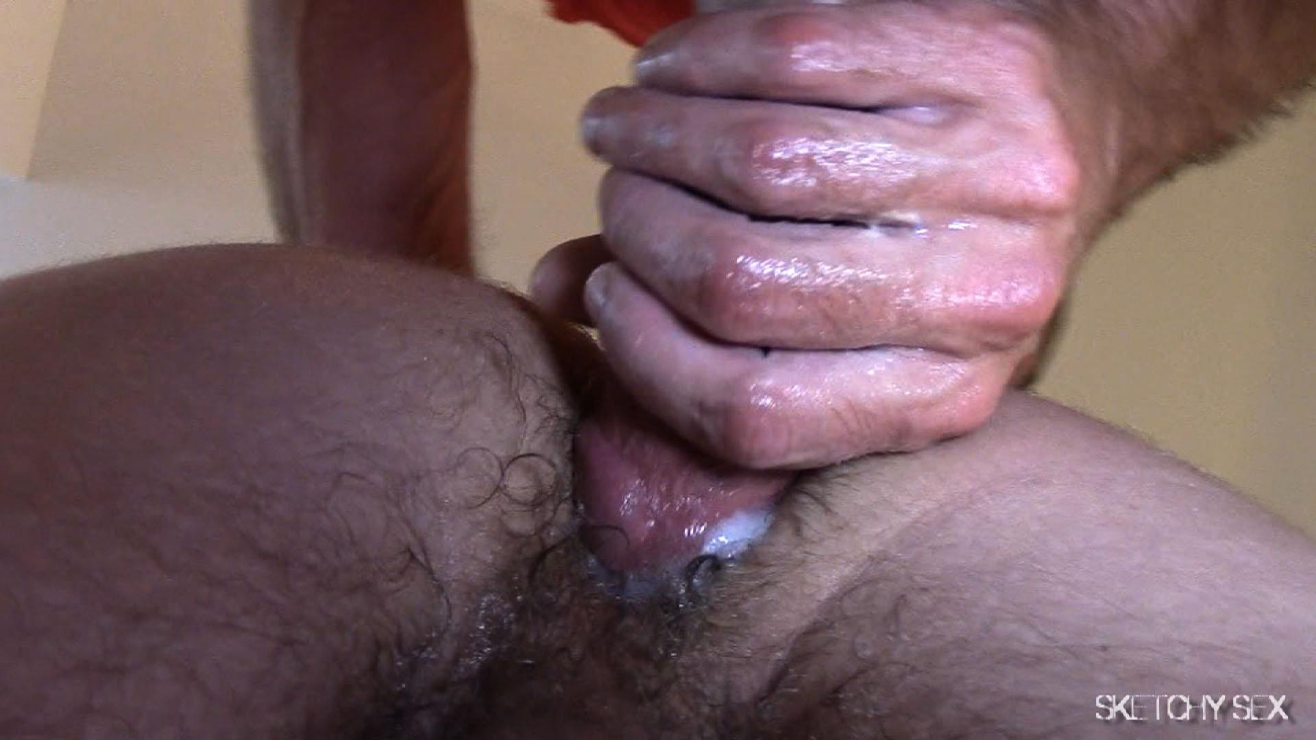"Sketchy-Sex-Nate-Getting-Fucked-Bareback-By-A-10-Inch-Craigslist-Cock-Amateur-Gay-Porn-10 Taking A 10"" Craigslist Cock Bareback While The Roommate Watches"