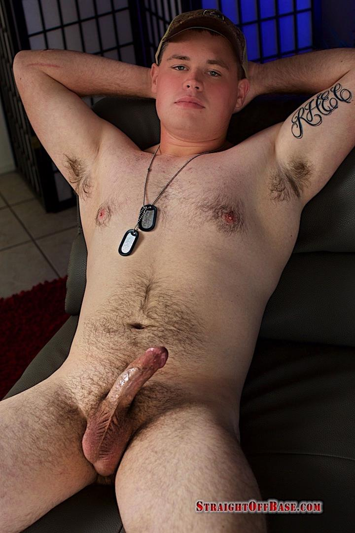Straigth-Off-Base-Naked-Marine-Jerking-Off-Video-07 Marine Corporal Strokes His Straight Redneck Cock